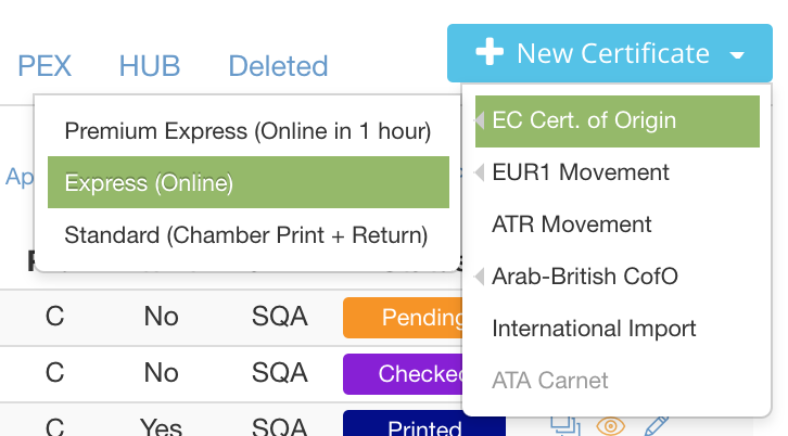 Choosing en Express EC Certificate of Origin