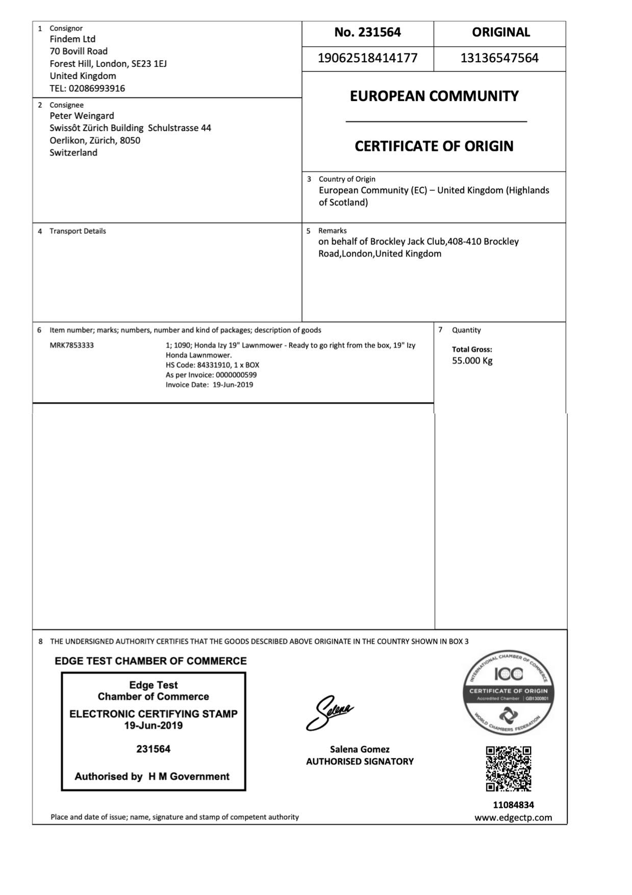EdgeCERTS EC Certificate Of Origin