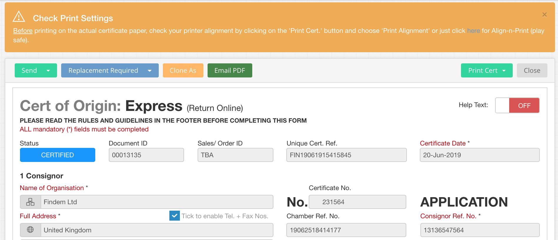 EdgeCERTS Self Print EC Certificate of Origin