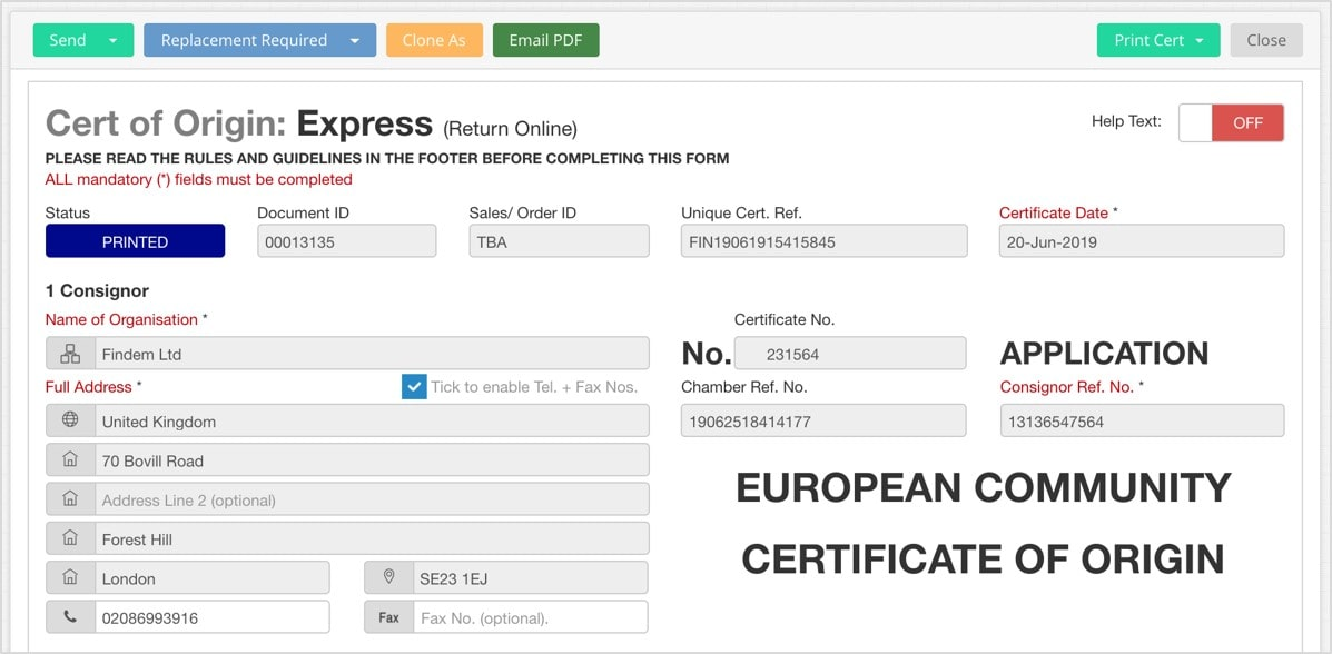 EdgeCTP Certificate of Origin