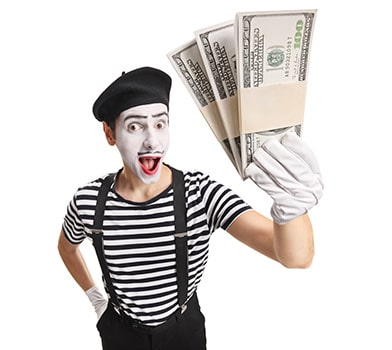 Masked Man Showing Currency Notes